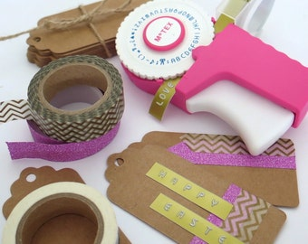 Motex Retro Embossing Label Maker in Pink or Green