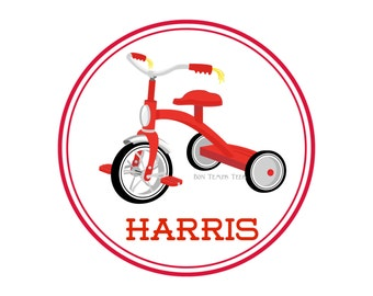 Tricycle Shirt or Iron on Transfer, Custom Digital File, Classic Red Tricycle, Iron on Decal