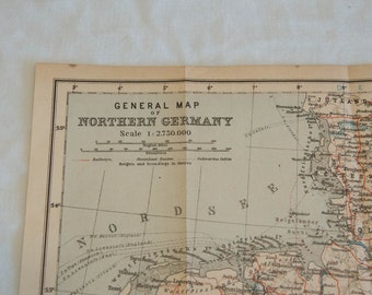 1910 Germany Antique Map