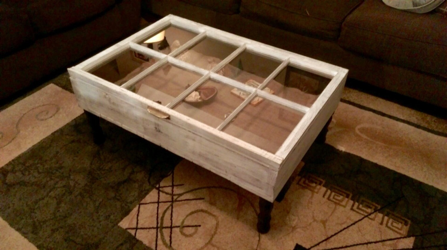 Wood window shadow box coffee table by sandjbargainvault on etsy Glass box coffee table