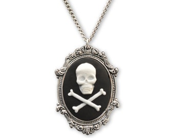 Skull and Crossbones Cameo in Antique Silver Pewter Frame Pendant Necklace NK-654