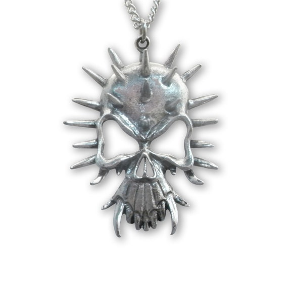 Gothic Spiked Skull with Fangs Silver Finish Pewter Pendant