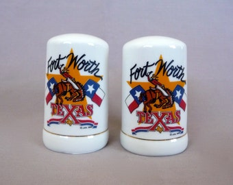 Vintage Souvenir Salt and Pepper Shakers from Fort Worth Texas