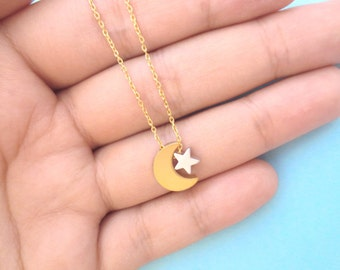 Gold, Crescent, Moon, Silver, Star, Gold, Chain, Necklace, Gold moon and silver star on gold chain, Necklace, Moon and star, Gift, Jewelry