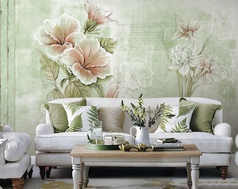 """55"""" x 35"""" Dreamy Floral Wallpaper Poetsie Flower Wall Decal Art Bedroom Living Room Retro Pale Green Apricot Wall Mural Home Decor"""