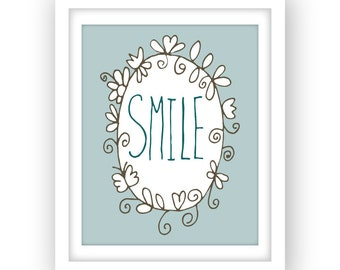 Printable wall art, Smile print, hand lettered, printable typography poster, turquoise home decor, instant download, 8 x 10