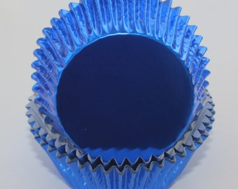 BLUE FOIL Cupcake Liners