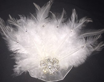 crystals and feathers wedding hair piece