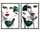 Phone Call Pair of Pop Art Prints