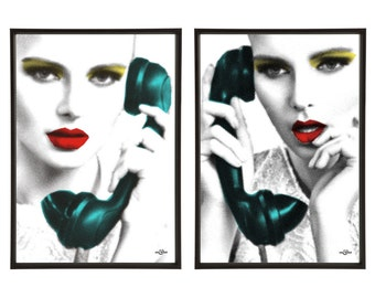 Phone Call Pair of Pop Art Prints