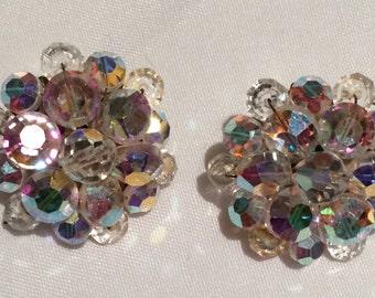 Vintage AB crystal clip on earrings.