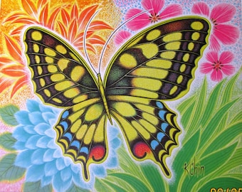 Vintage art print litho poster NOS two BUTTERFLY prints kitsch by K. Chin floral copyright 1975