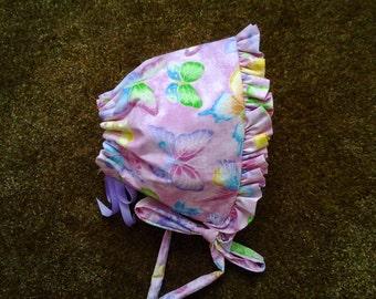Pink Butterflies Ruffled Baby Bonnet