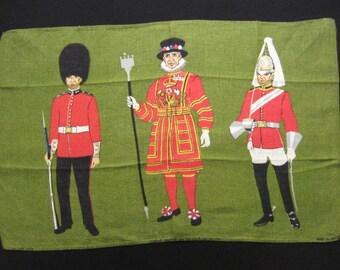 Vintage Linen Tea Towel - Queens' Guard on Green Background