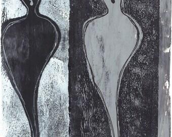 "white black ghosts, black white art, black white monoprint, black grey ghosts, original print original art ""dispirited"""