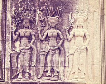 "Cambodia Photo, ""Three Queens"" from Angkor Wat in Siem Reap, Travel Photography Gallery"