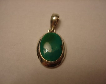 Oval cabochon turquoise  sterling silver pendant