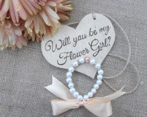 SALE Will you be my flower girl wood sign and pearl bracelet, choose ribbon color. Flower girl gift, heart wedding sign, pearl, rhinestone