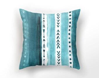 DECORATIVE THROW PILLOW, teal blue pillow case, watercolor throw pillow,  aquarelle minimalist pillow, sea blue cushion cover, arrow pillow