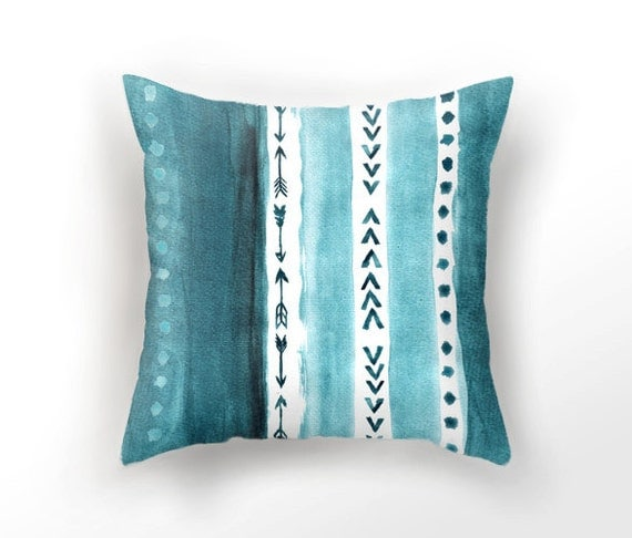 Teal Blue Throw Pillow : DECORATIVE THROW PILLOW teal blue pillow case watercolor