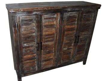 Reclaimed wood Sideboard Credenza four door shutter cabinet furniture