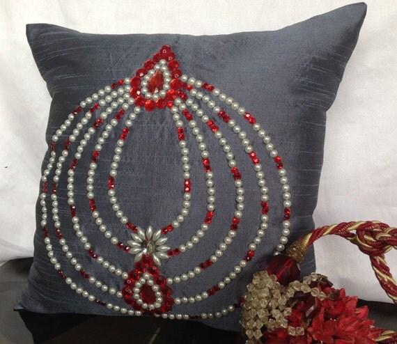 Beaded Grey Throw Pillow : Grey beaded pillow Grey decorative pillow by TheWhitePetalsDecor