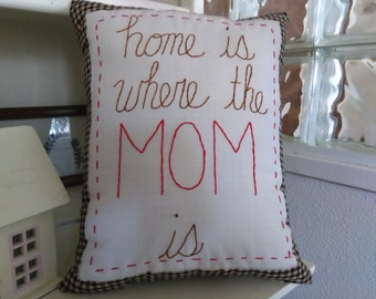 MOM Embroidered Pillow
