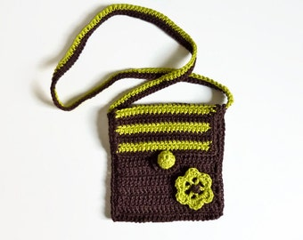 Toddler bag. Bag for your little one. Handmade crochet of 100% cotton. Brown with apple green cotton. Shoulder bag