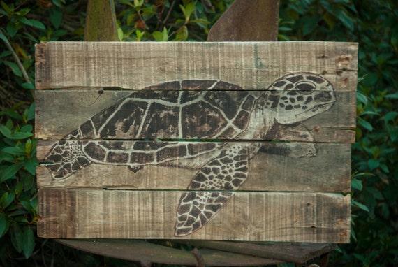 Lake Home Wall Decor : Sea turtle painting art lake house