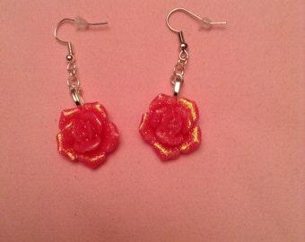 Pink shimmery flower earrings