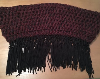 Gothic,Medieval,Crocheted Extra Chunky Fringed Cowl,100% Handmade Crochet,Wool-Blend Cowl, Medieval Cowl, Gothic Cowl, Color: Fringed Claret