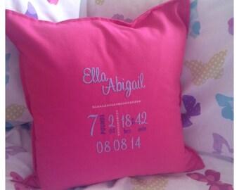 Personalised Birth Detail Cushion