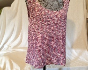Pink and Silver Pullover Nylon Metalic Tank Top Sweater