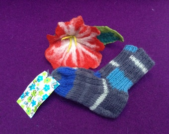 Hand knitted warm socks Gr. 22 23 blue