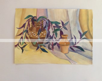 Original Nature Morte with two Wases painting, watercolor, paper