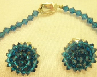 Faceted Blue Plastic Beaded Necklace and Earring Set