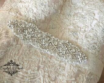 Aspen Bridal Sash - Bridal Belt, Wedding Sash, Wedding Dress Belt, Beaded Sash, Jewelled Sash, Vintage Wedding Dress Belt