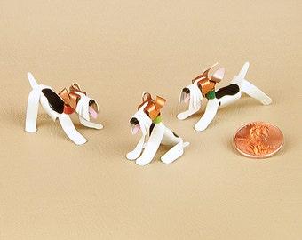 Fox Terrier Wire Puppy Dog Sculpture Handmade Copper Miniature Collectible Art