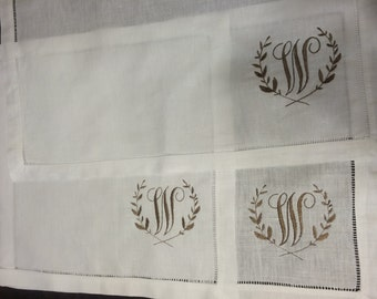 Set of 4 Monogrammed Linen Hemstitch Placemats