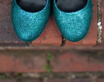 Blue wedding shoes Blue Glitter shoes Wedding shoes blue blue wedding flats ombre shoes Something blue shoes SIZE 6