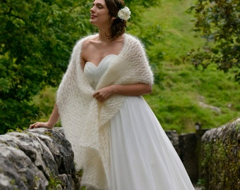 Delicate Kid Mohair Bridal Cover Up Stole / Wedding Shawl in Ivory - Available in Pink, Aqua, Grey, Black