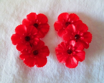 Vintage WOW Plastic Flower Red rhinestone Center Earrings 1950's large floral red clip earrings