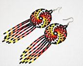 Beaded Huichol Earrings - Dreamcatcher Earrings - Dream Catcher - Native American Jewelry- Beaded Earrings Huichol Jewelry Dangling Earrings