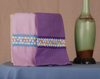 Tea Towels, Lavender and Dark Purple, Linen