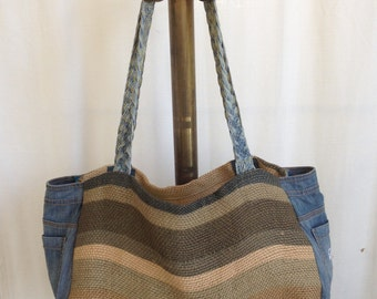 "Jute bug"" large woven rug jeans belts shopping bag beach tote stripes"