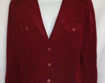 "Vintage Abe Schrader Elizabeth Arden Womens Ladies Jacket Burgundy Lamb Leather Suede 3 Button Front 4 Pockets Fully Lined Sz38"" Bust c1970s"