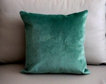 teal velvet pillow cover blue velvet cushion green velvet throw pillow teal decorative pillow Designer pillow Warick Velvet pillow