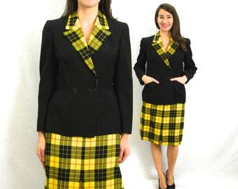 50s Plaid Wool Suit | Black Jacket & Yellow Plaid Pencil Skirt | Small