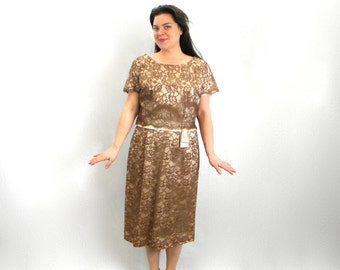 Vintage 50s Lace Party Dress   Cocoa Brown & Taupe Floral Dress, Extra Large