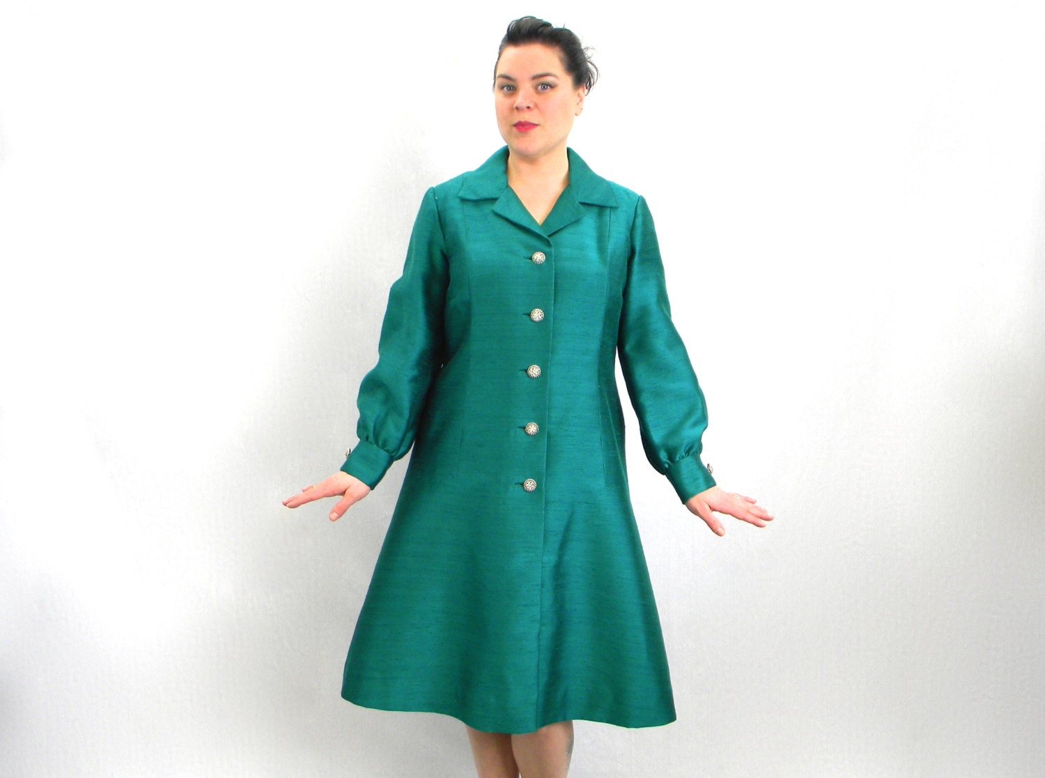 Vintage 60s emerald green shirt dress long by Emerald green mens dress shirt